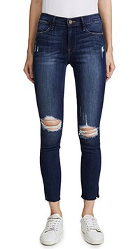 FRAME Le High Skinny Jean with Raw Edge Slit Rivet | SHOPBOP