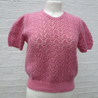 Pink short sleeve tee top lacey knit Summer sweater ladies