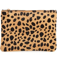 BP. Leopard Print Genuine Calf Hair Pouch | Nordstrom
