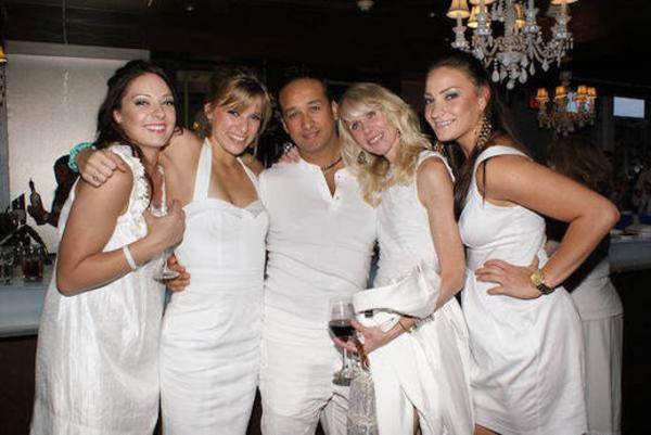 wearing white summer party